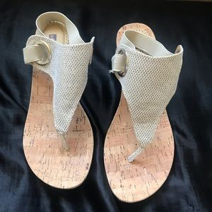 White mountain wedged sandals